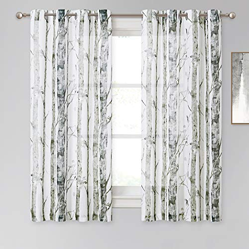 KGORGE Semi Sheer Curtains for Bedroom - Grey Linen Textured Tree Branches Print Curtain Set Privacy Sheer Window Drapes for Living Room Grommet Top, 2 Panels, W 50 x L 63 inch