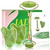 iemy® rullo di giada gua sha, viso massaggio strumento, roller per massaggio viso 100% originale, età rilassante per vostra pelle naturale ringiovanisce, anti invecchiamento collo wrinkgless, verde