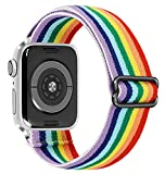 THOVSMOON Elastic Watch Band Replacement for Apple Watch, Adjust Stretchy Bracelet Strap Stretchy Band Replacement with 38/40/42/44mm Apple Watch/iWatch Series 1 2 3 4 5 6 SE (Rainbow, 38/40mm)