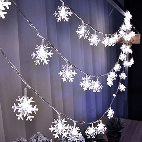 sfdeggtb Christmas Lights, 2M 20 LED Snowflake String Lights Battery Operated Waterproof Fairy Lights for Bedroom Patio Garden Party Home Xmas Decor Indoor Outdoor Decor (White Antlers)