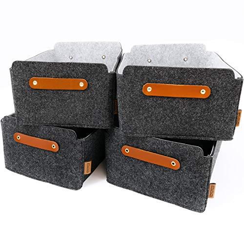 Miqio® Design Aufbewahrungsbox aus Filz mit Ledergriff | hochwertiger Korb aus Filz | Filzbox mit Echtleder Elementen | dunkel grau anthrazit | Filzkorb 4er Set
