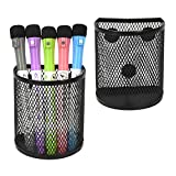 2 Pack Magnetic Pencil Holder, Magnetic Marker Holder, Mesh Storage Baskets with Magnets, Mesh Pen Holder for Refrigerator, Whiteboard, Locker Accessories, Office Supplies Organizers (Black)