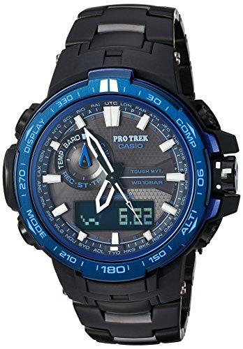 Casio 'Pro Trek da uomo al quarzo in acciaio INOX e titanio per orologio da polso, colore: nero (modello: PRW-6000SYT-1CR)