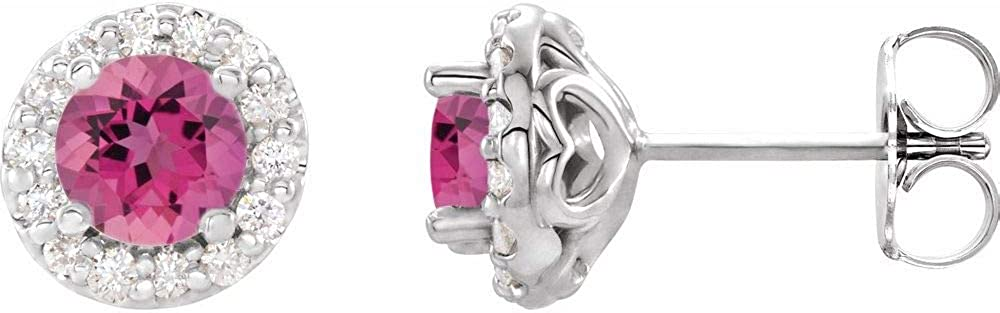 Solid 14k White Gold Pink Tourmaline and 1/4 Cttw Diamond Stud Earrings (8.4mm x 8.1mm) (.25 Cttw)