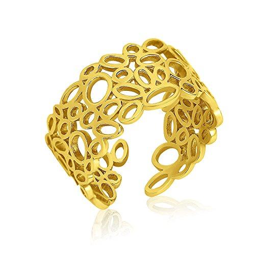 Ring Damen Breit Echt Gold 375 585 750 - Goldring Verstellbar Offen - Größen 48-62 (14 Karat (585) Gelbgold, 54 (17.2))