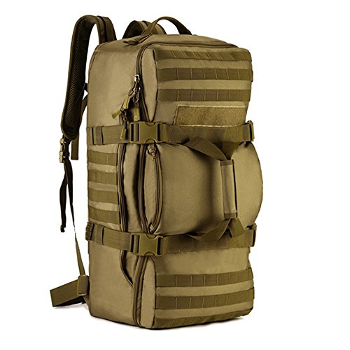 Tactical Multi-functional Travel Duffle Bag Camping Backpack Outdoor Luggage Military Duffel Assault Pack (Brown)