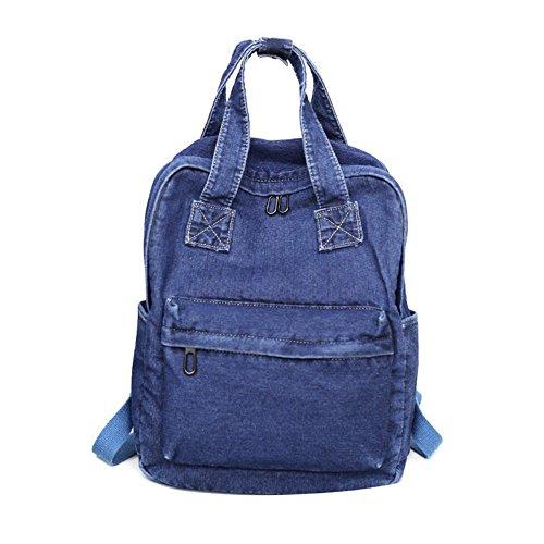 Girls Vintage Denim Backpack Jeans Daypack Bag Travel Bag Rucksack Dark Blue