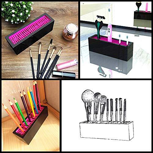 SMISOL Makeup Brush Holder Cosmetic Organizer, Vanity Display Storage & Air Drying (black-01) Photo #4