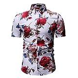 Jinyuan Camisa De Hombre De Moda De Verano Camisa Floral Delgada De Manga Corta Tendencia De Moda De Hombre Camisa Floral Hawaiana Casual De Hombre De Gran TamañO Blanco M