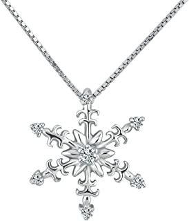 925 Sterling Silver Necklace Elegent Crystal Snowflake Pendant Family Best Gift for Mother's Day