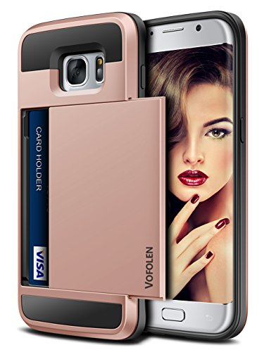 Vofolen Case for Galaxy S7 Edge Case Slidable Card Holder S7 Edge Wallet Case Hybrid Protective Shell Shockproof Rubber Bumper Armor Scratch-Proof ID Card Slot Case Cover for Galaxy S7 Edge Rose Gold