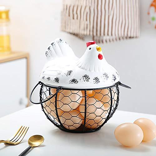 ZTHHS Canasta de Almacenamiento de Huevos de Cerámica de Arte de Hierro, Canasta de Almacenamiento de Cocina en Forma de Gallina, Canasta de Huevos, Contenedor de Huevos, Organizador de Huevos
