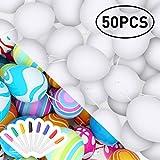 RenFox 50 Pezzi di Pasqua Bianche Decorazioni pasquali, Uova di Pasqua in plastica & Non tossico & Prevenire la Rottura & 8 Penna Acquerello,Regalo di Pasqua per Bambini (Bianco)