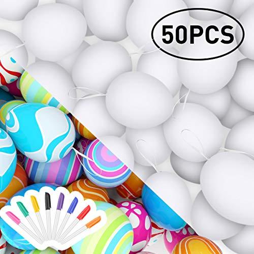 RenFox 50 Pezzi di Pasqua Bianche Decorazioni pasquali, Uova di Pasqua in plastica & Non...