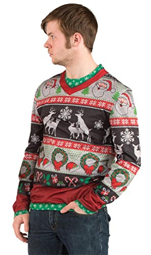 Faux Real Men's 3D Photo-Realistic Ugly Christmas Sweater Long Sleeve T-Shirt, Frisky Deer, XX-Large