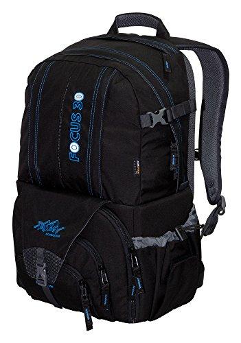 Tashev Sac à Dos pour Appareil Photo Focus 30 Cordura® Sac à Dos de randonnée (Noir & Bleu)