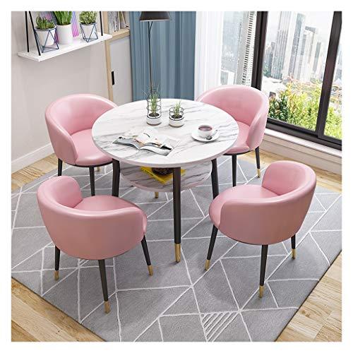 Tisch- und Bürostühle, 1 Tisch, 4 Stühle, Kaffee, Bar, Korridor, Tea, Shop, Biscuit, Shop, PU-Leder, Doppelschicht, Multifunktionstisch, Tisch und Stühle Pink