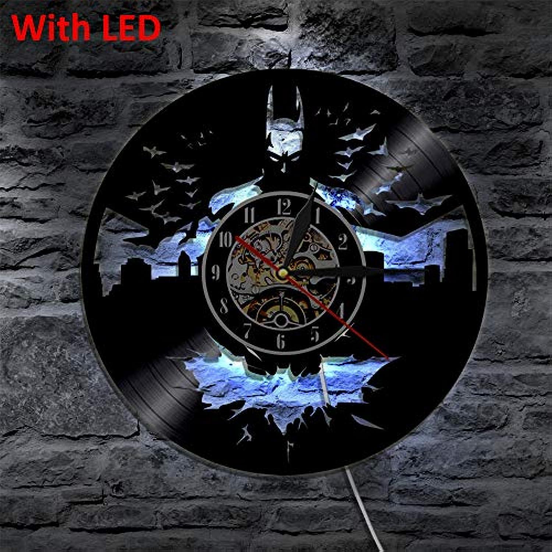 YJSMXYD Wanduhren Mode Hngen Wanduhr Led Vinyl Uhr Wand Licht Farbwechsel Vintage Hintergrundbeleuchtung Moderne Handgemachte Dekor Lampe Fernbedienung