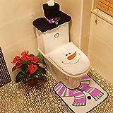 LBZLY Decoraciones de Navidad Estas Fiestas Fantasía de Navidad Decoración Feliz muñeco de Nieve Cubierta de Asiento de Inodoro Alfombra de baño Set