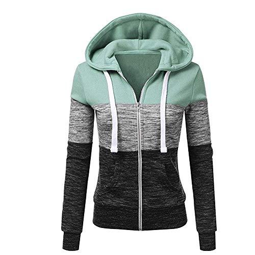 Newbestyle Jacke Damen Sweatjacke Hoodie Sweatshirt Pullover Oberteile Kapuzenpullover V Ausschnitt Patchwork Pulli mit Kordel und Zip (Grau, 2X-Large)