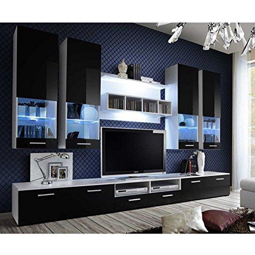 Paris Prix - Meuble TV Mural Design dorade 300cm Noir & Blanc