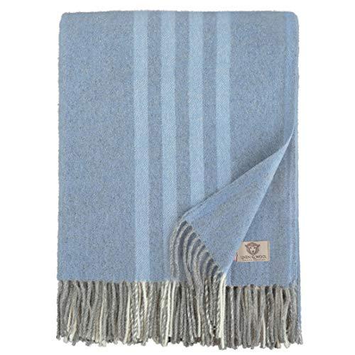 Linen und Cotton Luxus Warme Decke Wolldecke Merino Wohndecke Kuscheldecke Venice mit Streifen Muster - 100prozent Weicher Merinowolle, Blau/Grau (140 x 200cm), Sofadecke/Tagesdecke/Überwurf/Schurwolle