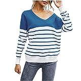 SHOBDW Separación Mujer Camiseta Manga Larga Labor de Retazos Blusa Tops otoño Invierno Ropa (S, Azul)