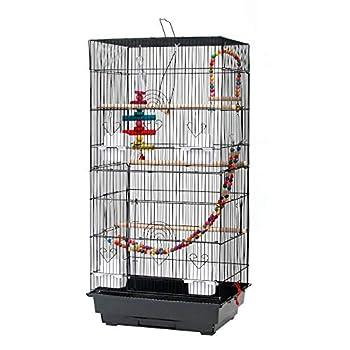 Voliere Oiseaux Interieur, Cage à Oiseaux avec Poignée et Toits, Équipée 4 Perchoir en Bois, 3 Mangeoires, 3 Jouets, Cage d'Elevage Oiseaux Perruche Perroquet Canari, 46 x 36 x 90cm,Noir
