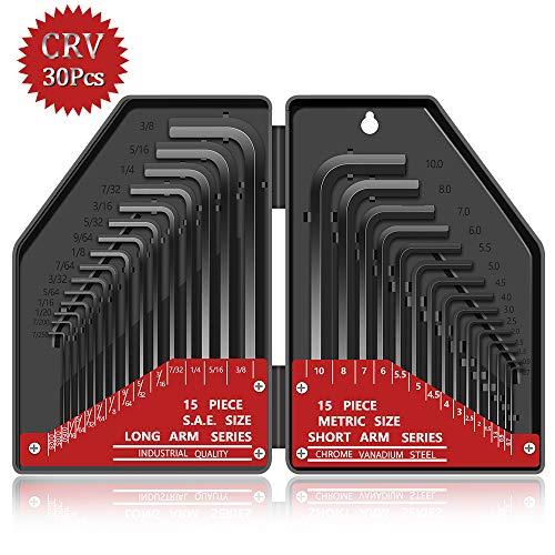 30 tlg Innensechskant Satz HX E·Durable Innensechskantschlüssel Kurzarm Metrisch (0,7 mm-10 mm) Langarm Zoll (0,028