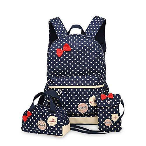 WSLCN Conjunto de mochilas de lona para meninas, mochila escolar com zíper, bolsa de viagem, bolsa de ombro, bolsa de ombro para crianças, bolsa de ombro, bolsa de laptop, bolsa de ombro casual, estojo de lápis de bolinhas, 3 peças, azul escuro