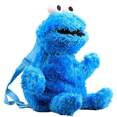 ALXY Anime Sesame Street Plush Backpack Cartoon Elmo Cookie Monster Big Bird Stuffed Backpack 46 cm 18 inch Cool Schoolbag (3 pcs) (Color : Blue)