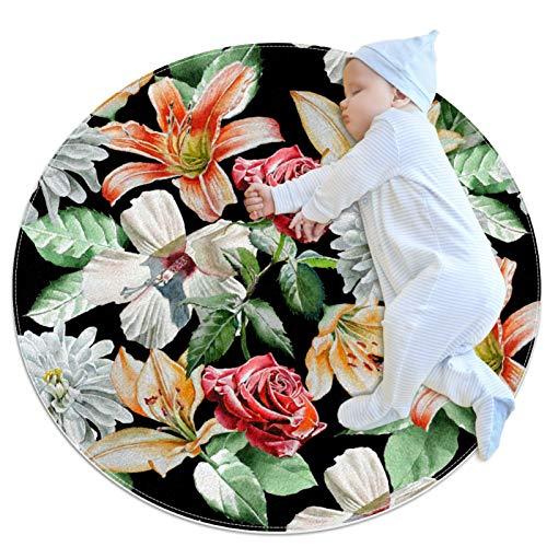 huhulala Alfombra de arrastre para bebé, de varios tamaños, redonda, para gatear, para juegos de piso, para actividades de juego de piso, decoración de habitación con flores
