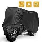 Housse de Protection pour Moto, Mopalwin Couverture Imperméable en Polyester 190T pour Moto, Scooter protège de la pluie, soleil, poussière, Anti-UV - 265*105*125cm (Noir)