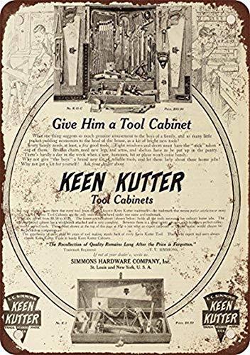Shimeier Keen Kutter Werkzeugschrank, Vintage-Look, Reproduktion, Metallblechschild, 20,3 x 30,5 cm,...