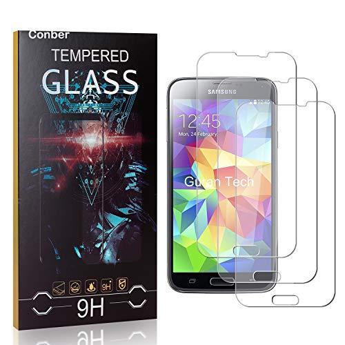 Conber [3 Stück] Displayschutzfolie kompatibel mit Samsung Galaxy S5, Panzerglas Schutzfolie für Samsung Galaxy S5 [9H Härte][Hüllenfreundlich]