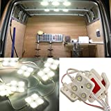 Audew Car Interior Lights Kit 10x4 LED Loading Light Led Modules White Truck Ceiling lights For Hatchbacks/LWB/Van/ 4 Wheel Drive/MPVs 48mm*48mm