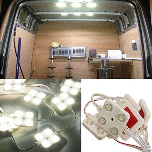 Audew LED Auto Innenbeleuchtung Innenraumbeleutung Lampe 10x4 Interior Licht Auto Leseleuchte LED Panel Kits Weiß 12V 48mm*48mm