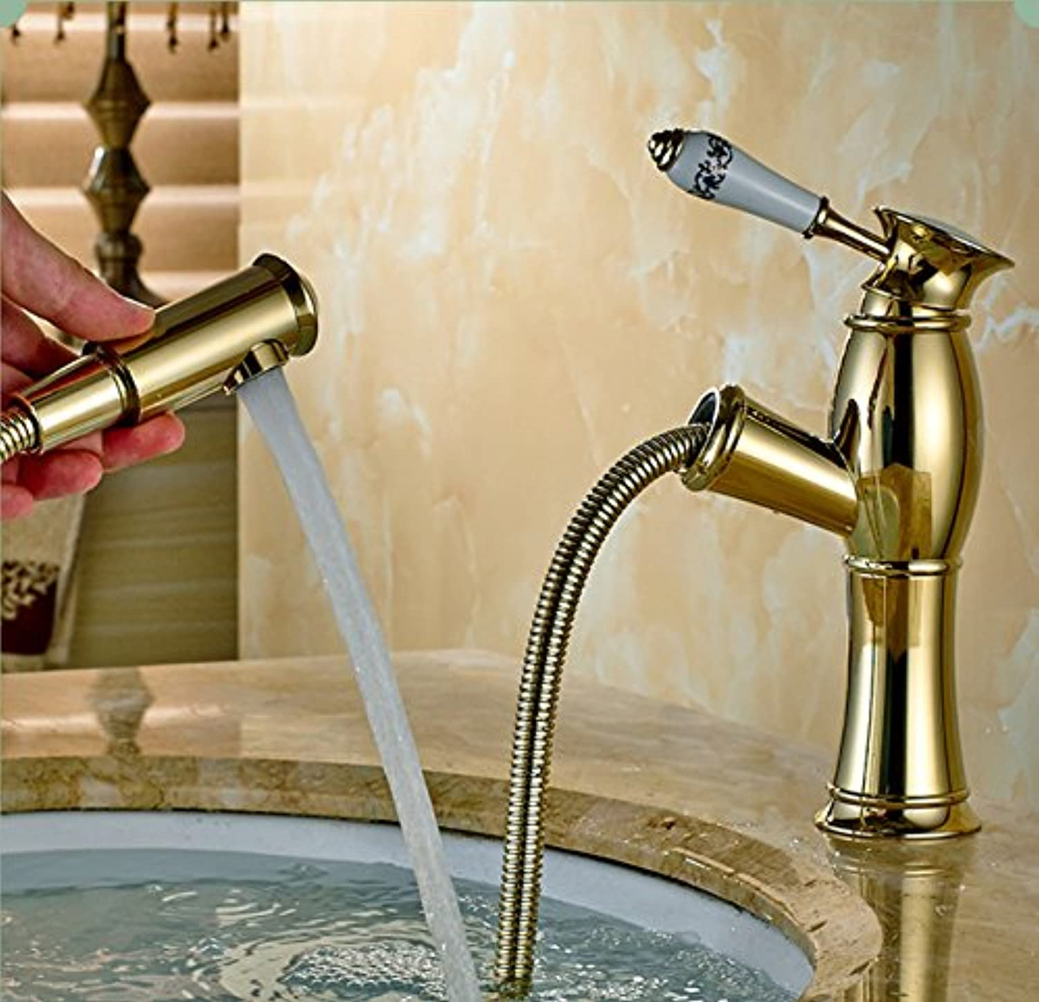 New Pull Out Antique Kitchen Faucet Copper Sink Kitchen Mixer Classica Mixers Faucets Bathroom Fauce gold Aawang