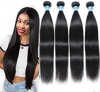 Peruvian Hair 4 Bundles 10A Virgin Unprocessed Straight Human Hair Extensions(22 22 24 24 inches,1B Color) 100% Raw Peruvian Straight Weave Hair Human Bundles