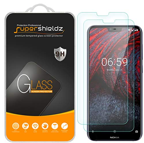 (2 Pack) Supershieldz for Nokia X6 (2018) Tempered Glass Screen Protector, Anti Scratch, Bubble Free