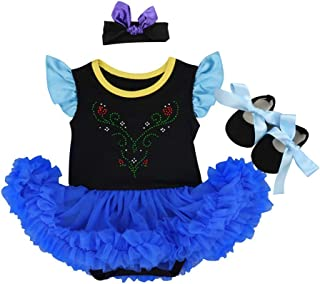 Baby Girls Princess Coronation Costume Fancy Dress Party Romper Bodysuit Cosplay Headband Shoes 3pcs Outfits Set