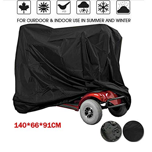 tm-home Waterproof Mobility Scooter Cover, Black Heavy Duty Waterproof Material Protect Your Wheelchair and Scooter from rain, Hail dust, Snow, Sleet and Sun