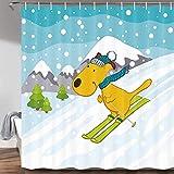 Duschvorhang mit weihnachtlichem Wintermotiv, lustiger Ski-H&, Cartoon-Tier, Schnee, Berge, Wald, Dekoration, für Kinderzimmer, Badezimmer, wasserdichter Stoff, 180 x 180 cm, Blaugrün