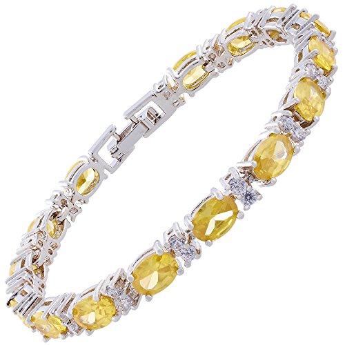 RIVA Ewigkeit Tennis Armband [18cm/7inch] mit Ovalschliff Edelstein Zirkonia CZ [Gelb Citrin] in 18K Weißgold Vergoldet, Einfache Moderne Eleganz