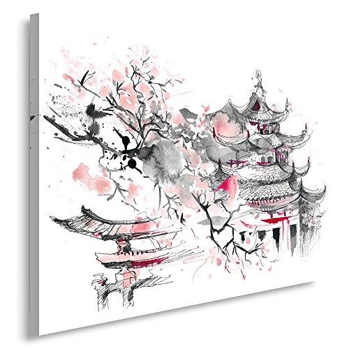 Feeby. Cuadro en lienzo - 1 Parte - 70x100 cm, Imagen impresión Pintura decoración Cuadros de una pieza, JAPÓN, ARQUITECTURA, GRIS