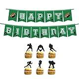 Happyyami 25 stücke fußball Geburtstagsfeier Dekorationen geburtstagsfahne Kuchen Topper fußball themenorientierte Alles Gute zum Geburtstag Bunting girlandendekoration