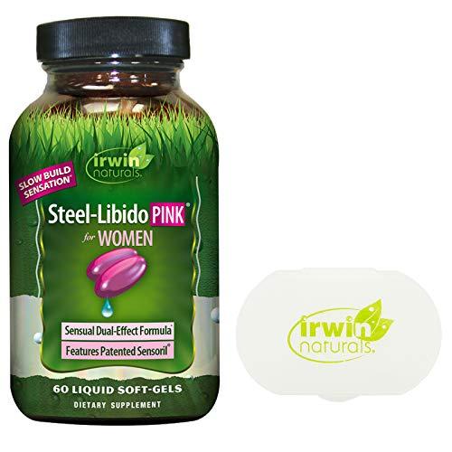 Irwin Naturals Steel Libido Pink for Women, 60 Liquid Softgels Bundle with a Irwin Naturals Pill Case