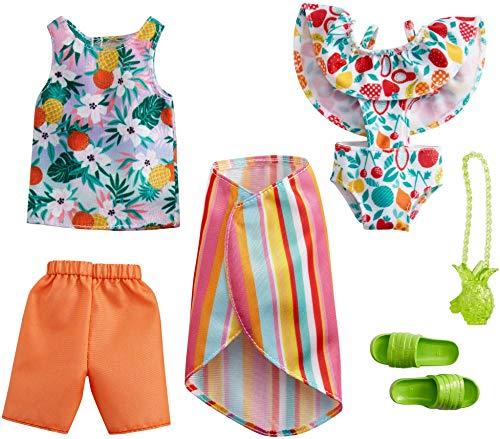 CDU Barbie y Ken Pack 2 Looks de Moda Tropical: Camiseta, Shorts, bañador, Pareo y Accesorios de Juguete (Mattel GRC96)