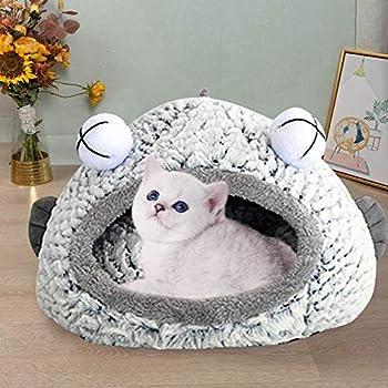 RTSE Panier Confortable pour Chat,Lavable,Chaud Nid d'hiver Grotte Chat,Corbeille pour Petit Animal pour Automne et Hiver (C, S)