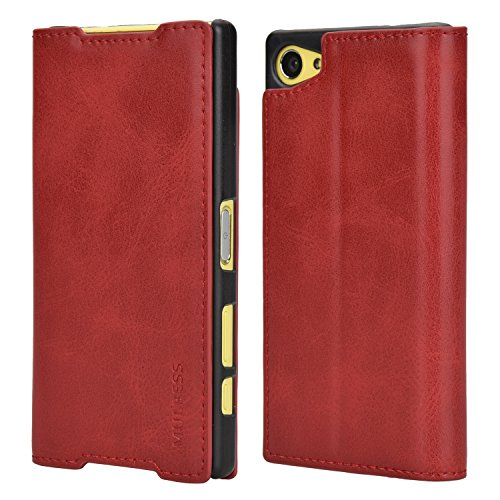 Mulbess Funda Sony Xperia Z5 Compact [Libro Caso Cubierta] Slim de Billetera Cuero Carcasa para Sony Xperia Z5 Compact Case, Vino Rojo